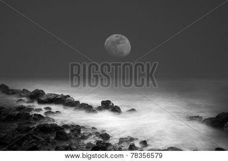 Sea Waves Rock And The Moon
