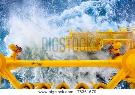 Oil and Gas Producing Slots at Offshore Platform, The platform on bad weather condition.