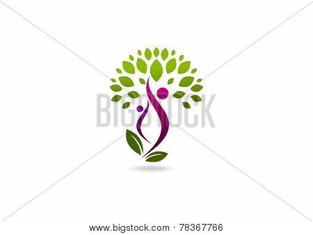 beauty health body logo, wellness plant human symbol icon