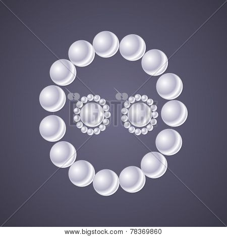 Design Classic Pearl Jewelry On Gray Background