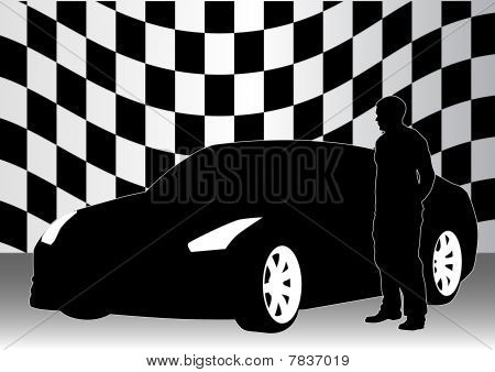 Sport car and man