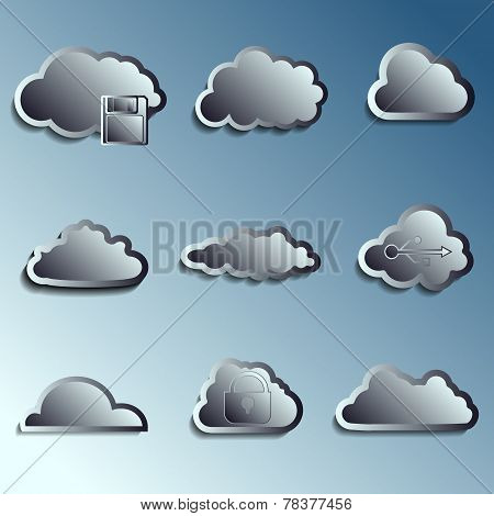steel 3d vector clouds