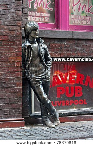 John Lennon Statue In Mathew Street, Liverpool, Uk