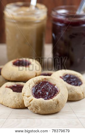 Raspberry Peanut Butter And Jelly Cookies