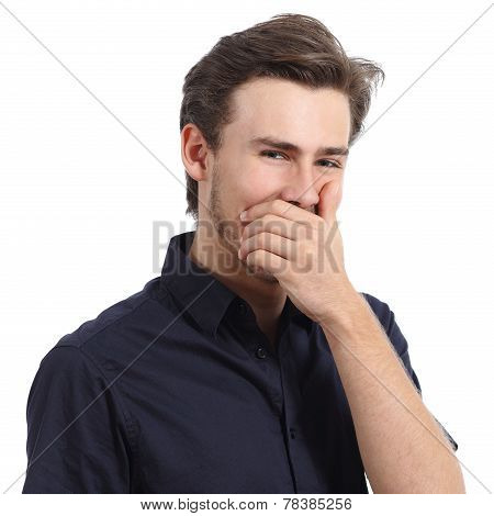 Handsome Man Laughing While Covering His Mouth With A Hand