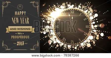 Clock counting down to midnight against art deco new year greeting