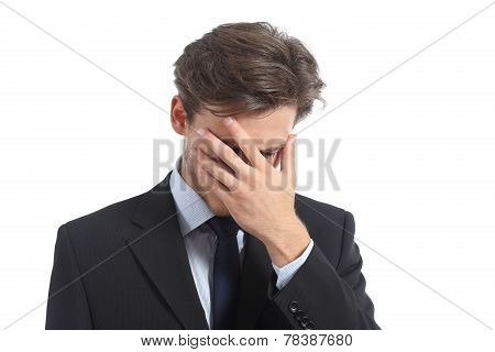 Worried or ashamed man covering his face with hand isolated on a white background poster