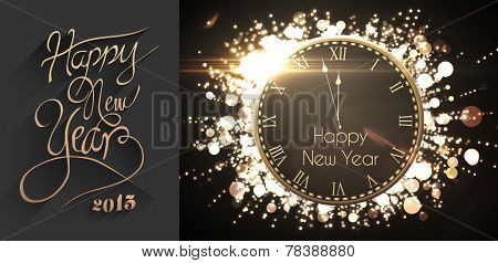 Classy new year greeting against black and gold new year message