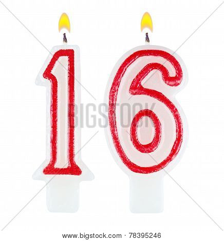 Birthday Candles Number Sixteen Isolated