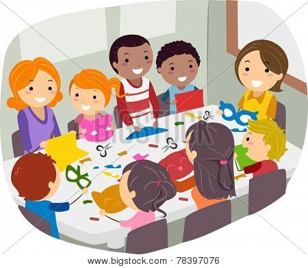 Illustration of Parents and Their Friends Doing Paper Crafts Together