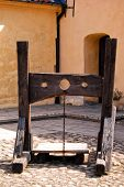 A medieval torture device situated on the grounds of glimmingehus castle in Sweden. poster