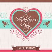 14 February, Happy Valentine's Day celebration love card, greeting card or gift card decorated with heart shape and cupid. poster