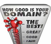 How Good is Your Domain question on a thermometer measuring the quality or how memorable your business name on a website or internet url poster