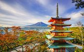Mt. Fuji with Chureito Pagoda at sunrise in autumn Fujiyoshida Japan poster