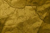 A closeup detailed  topographic trail map poster