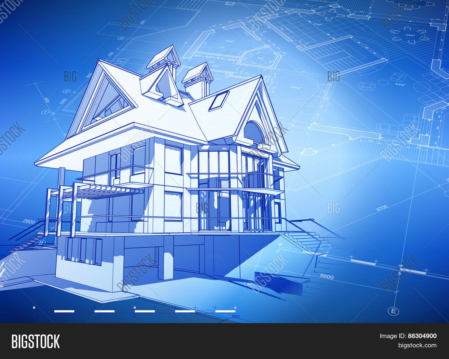 Architecture Design: Blueprint 3d House, Plan U0026 Blue Technology Background    Vector Illustration
