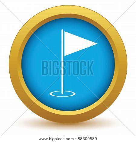 Gold golf flag icon