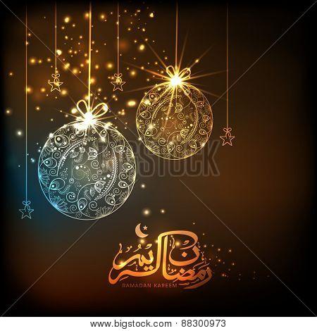 Beautiful floral design decorated hanging balls, stars and Arabic calligraphy of text Ramazan Kareem (Ramadan Kareem) for Muslim community festival celebration.