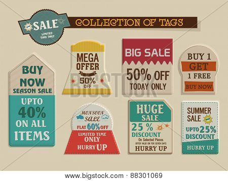 Stylish vintage tags collection of Big Summer Sale with mega discount offer for limited time.