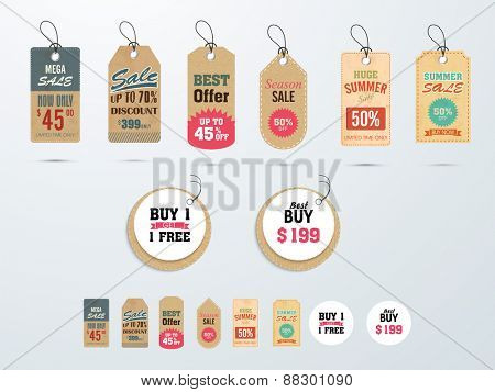 Set of Mega Sale tags or labels design with best discount offers.