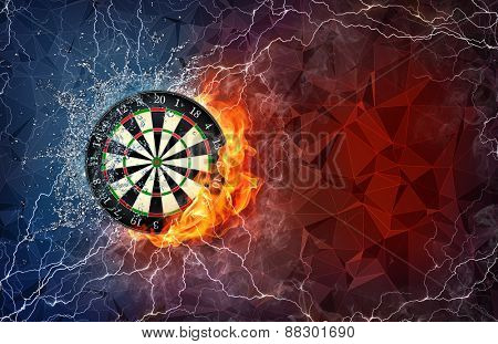 Dart board on fire and water with lightening around on abstract polygonal background. Horizontal layout with text space.