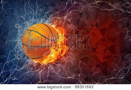 Basketball ball on fire and water with lightening around on abstract polygonal background. Horizontal layout with text space.