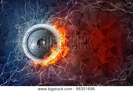 Speaker on fire and water with lightening around on abstract polygonal background. Horizontal layout with text space.