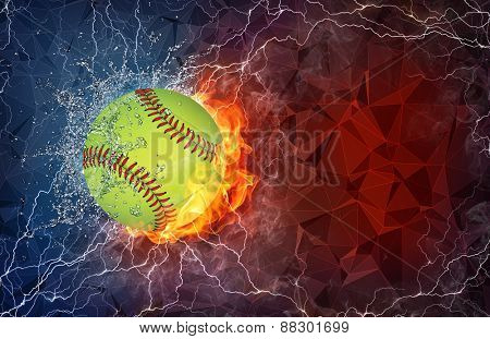 Baseball ball on fire and water with lightening around on abstract polygonal background. Horizontal layout with text space.