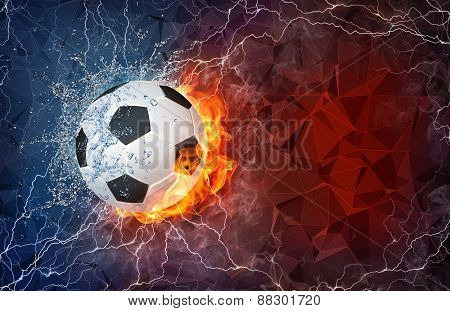 Soccer ball on fire and water with lightening around on abstract polygonal background. Horizontal layout with text space.