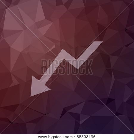 Lightning arrow downward icon in flat style for web and mobile, modern minimalistic flat design. Vector white icon on abstract polygonal background.