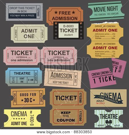 Great vintage tickets collection over dark background
