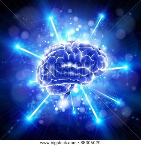 brain - blue technology concept / vector illustration / eps10