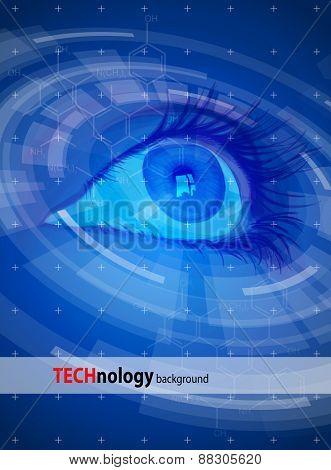 Technology back?round - Blue Eye, radial HUD elements. Vector illustration / Eps10