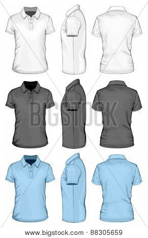 Men's short sleeve polo-shirt. Front, side and back views. Vector illustration.