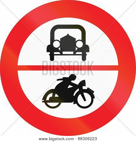 Austrian traffic sign prohibiting thoroughfare of cars and motorcycles. poster