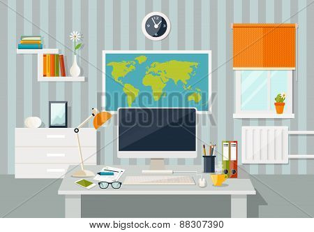 Vector flat illustration. Workplace concept. Modern home office interior