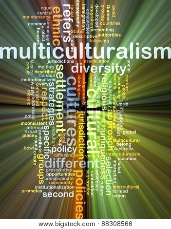 Background text pattern concept wordcloud illustration of multiculturalism glowing light poster