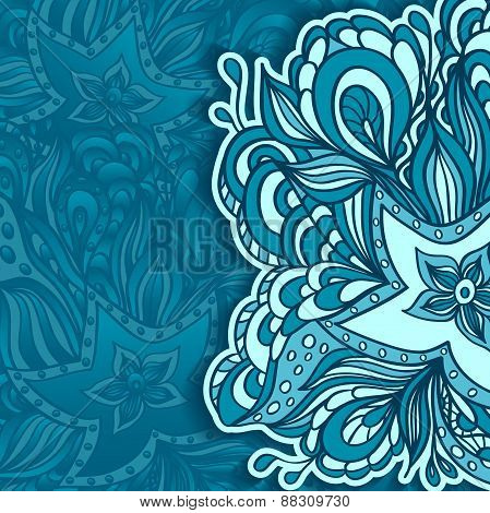 Template with doodle starfishes background