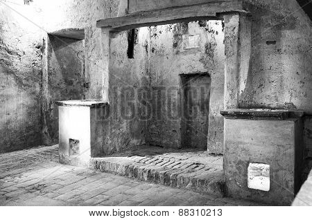 Ancient monastery kitchens. Black and white photo