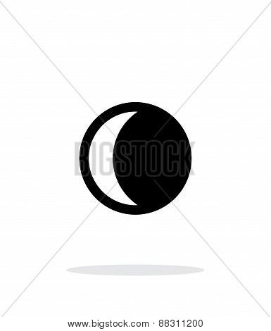 Waning crescent moon simple icon on white background.