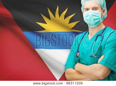 Surgeon With National Flag On Background Series - Antigua And Barbuda