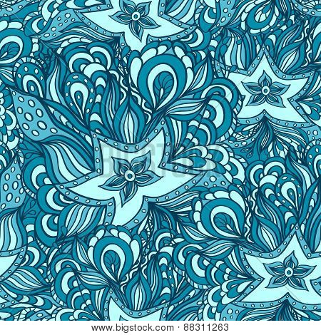 Seamless pattern with doodle starfishes in blue