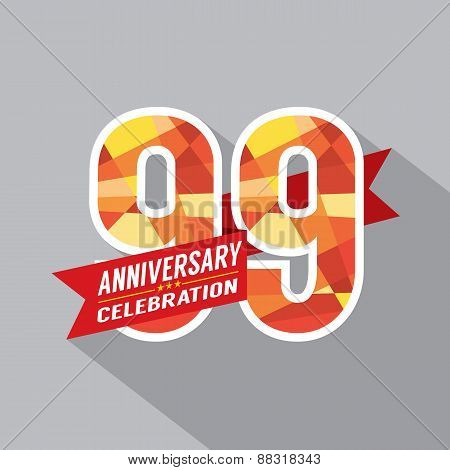 99th Years Anniversary Celebration Design Vector. EPS 10 poster