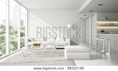 Interior of the modern design  loft in white  3D rendering