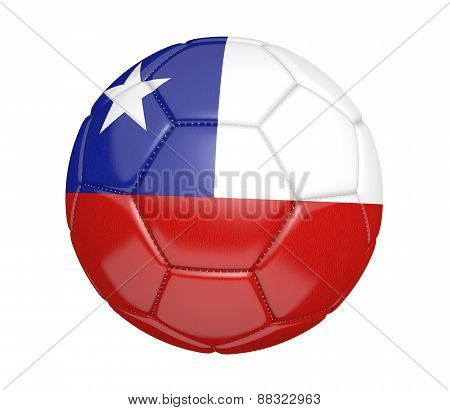 Soccer ball, or football, with the country flag of Chile