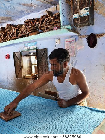 Jodhpur, India - January 2, 2015: Textile Worker In A Small Factory