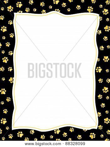 Paw Prints Frame Gold And Black