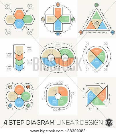 Circle Triangle Arrows set. Linear line Graphic design Elements & Infographic Template for cycle diagram graph presentation and round chart. Business concept with 4 options parts steps or process. poster