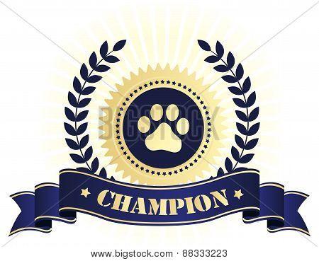 Champion Seal With Dog Paw Print