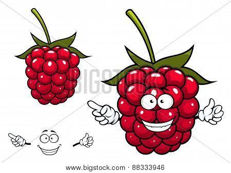 Joyful red raspberry fruit character